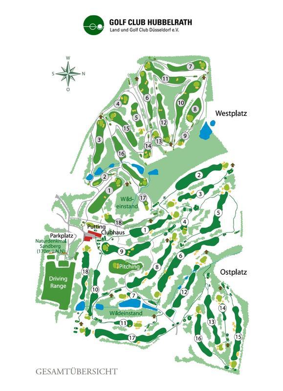 Die Golfplätze des Golf Clubs Hubbelrath mit den eingezeichneten 14 Blitzschutzhütten. So lässt sich leicht der kürzeste Weg zum nächsten Unterstand finden