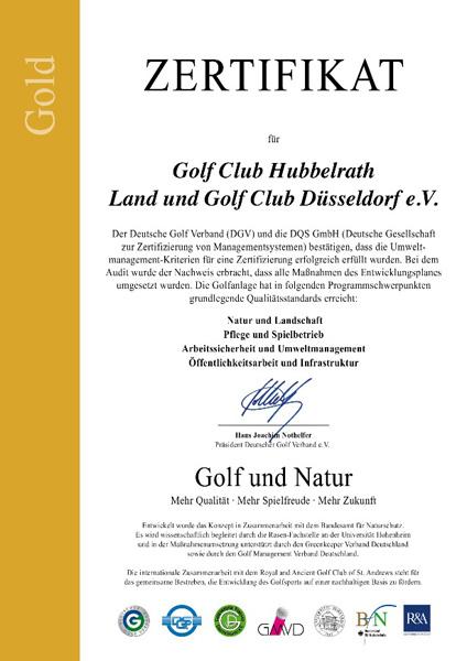 """Unser Golf Club wird im Vorfeld der Fachtagung """"Golf und Natur"""" mit dem höchsten DGV-Umweltzertifikat ausgezeichnet."""