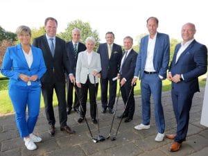 Thomas Geisel (amtierender Düsseldorfer Oberbürgermeister, SPD), Dr. Stephan Keller (CDU), Dr. Marie-Agnes Strack-Zimmermann (FDP) und Stefan Engstfeld (Bündnis 90/ Die Grünen)