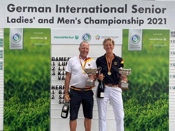 Anja Lundberg (GC Neuhof) und Martin Birkholz (GSV Düsseldorf) sind die neuen Meister der IAM AK 50